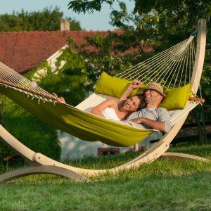 La Siesta Alabama avocado - vadderad kingsize hängmatta med ställning